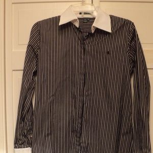 NWOT Lauren Ralph Lauren Black/White Striped Shirt